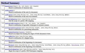 API of org.xml.sax.ContentHandler