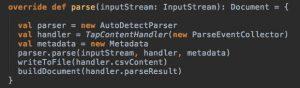 The #parse method of class DocumentParserTika employing Apache Tika