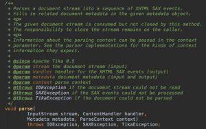 Central method #parse of interface org.apache.tika.parser.Parser